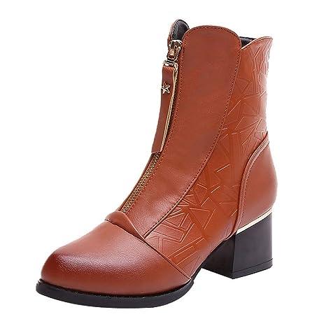 Mujer Botines Casual tacón alto cremallera,Sonnena Zapatos de punta gruesa con puntera Velvet Bare