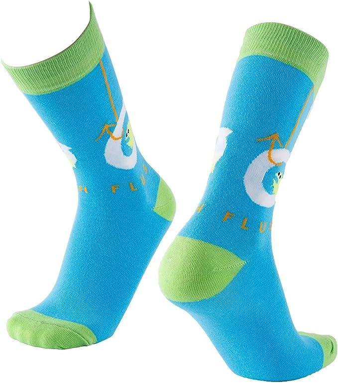 Foot Traffic Men/'s Pair Socks Bright Blue Dots And Stripes Socks New