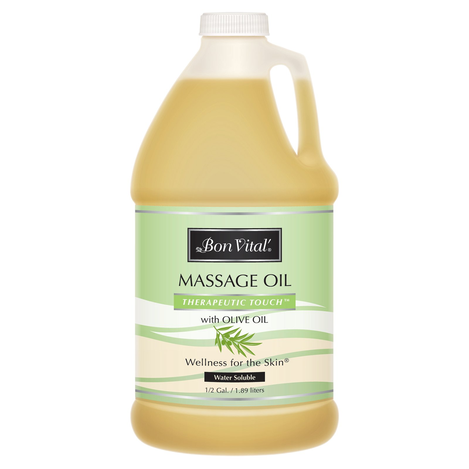 Bon Vital' Therapeutic Touch Massage Oil Made with Olive Oil to Repair Dry Skin & Soothe Sore Muscles, Lightweight Oil Perfect for Any Massage to Hydrate and Nourish Dry, Rough Skin, 1/2 Gallon Bottle