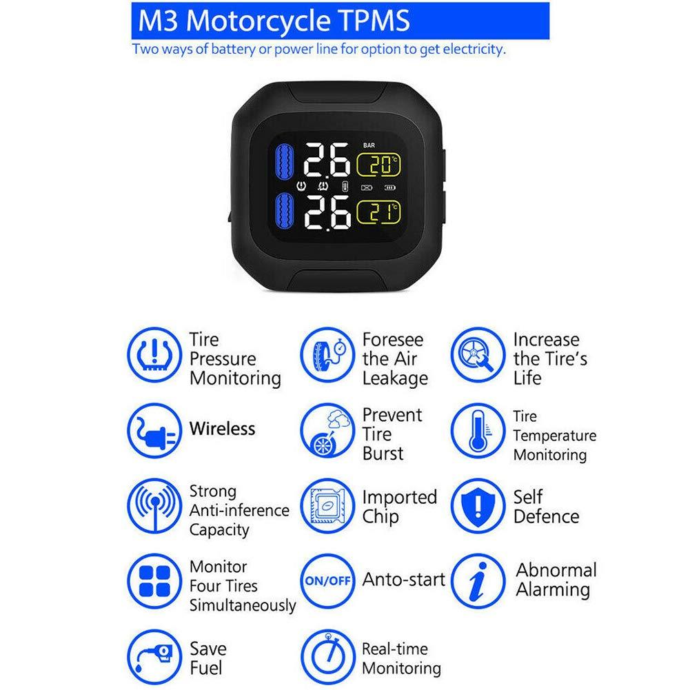 Balance des Reifendrucks schnelle Erkennung von Leckalarm schwarz verl/ängert die Lebensdauer der Reifen Motorrad-Reifendruckkontrollsystem TPMS-System M3 TPMS Reifendrucksensor