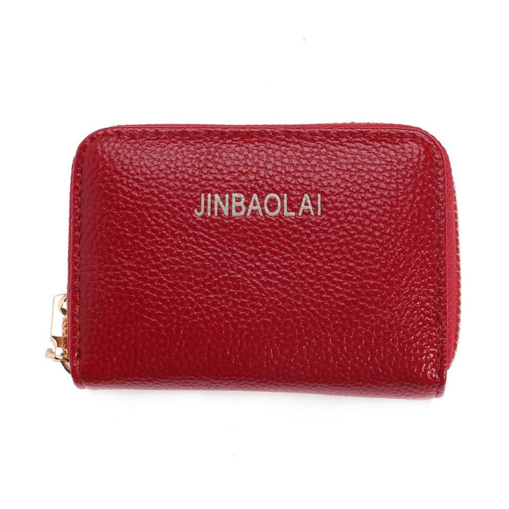 Men/'s Wallet Genuine Leather Credit Card Holder RFID Blocking Zipper Thin Pocket