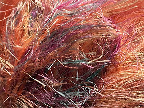 on Multi Fizz #615 Coral Seas - Coral Pink Aqua Lilac Gold Long Eyelash Yarn 50 Gram 66 Yards ()