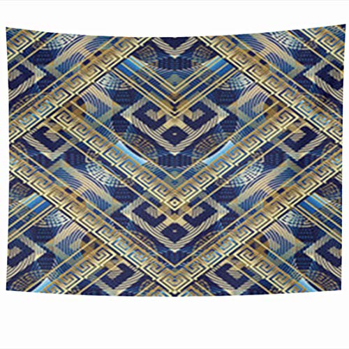 GisRuRu Tapestry Wall Hanging 60 x 50 Inches Golden Ancient Meander Greek Key Abstract 3D Modern Geometric Ornamental Shapes Figures Radial Tapestries Home Decor Art for Bedroom Living Room Dorm -