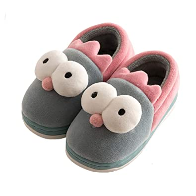 868414f122b Aelph Comfy Cute Kids House Slippers Fur Lined Indoor Outdoor Winter Warm Slippers  Boys Girls (