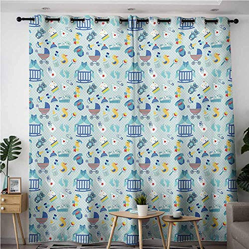 Doorway Curtains,Baby Newborn Sleep Crescent Moon Pacifier Nursery Star Polka Dots Image,Energy Efficient, Room Darkening,W72x84L,Pale and Violet Blue - Curtain Paisley Suede