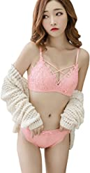 5a9cbe8378 Minuoyi Sexy Lace Embroidery Wire Free Push Up Adjustable Lingerie Set Bra  Knickers A B Cup