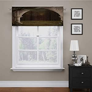 """Valances Window Treatments Gothic Decor for Small Windows Old Retro Arch in Garden Renaissance Meadow Forest Dark Scary Design Image 42"""" x 18"""" Green Beige"""