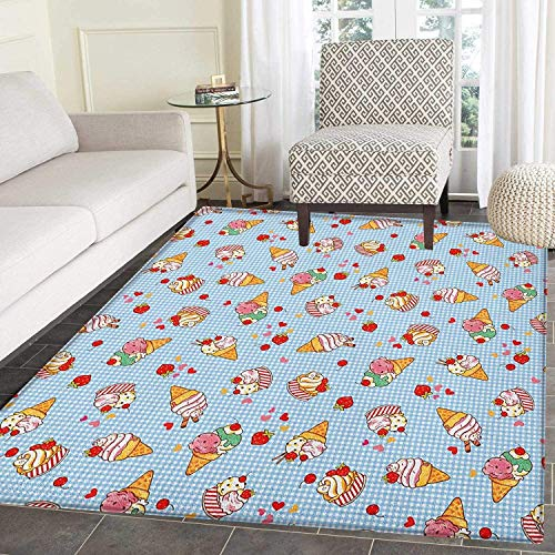 (Ice Cream Rugs for Bedroom Sweet Cherries on a Checkered Tartan Motif with Hearts Love Valentines Print Circle Rugs for Living Room 4'x6' Multicolor)