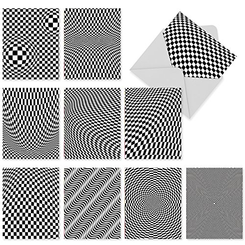 M2007sl Vertigo: 10 Assorted Blank All-Occasion Note Cards Adorned With Dizzying Black-And-White Patterns, w/White Envelopes.