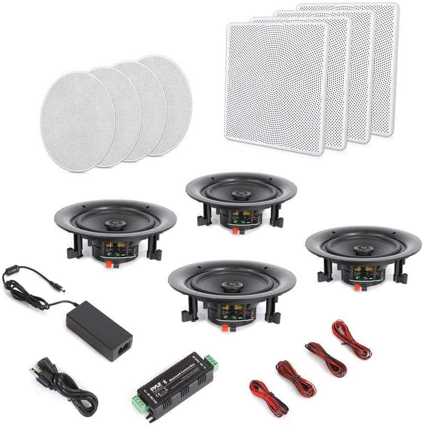 PDICBT266 Pyle 6.5 4 Bluetooth Flush Mount In-wall In-ceiling 2-Way Speaker System Quick Connections Changeable Round//Square Grill Polypropylene Cone /& Tweeter Stereo Sound 4 Ch Amplifier 200 Watt