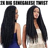 "FeiBin Synthetic Hair Crochet Braids 24"" 2X Big Senegalese Twist (Havana Mambo Twist Style) (6Pack, 1B)"
