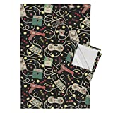 Roostery Technology Tea Towels Gadgets Geek Retro Outdated Technology Gaming Nerdy by Teja Jamilla Set of 2 Linen Cotton Tea Towels
