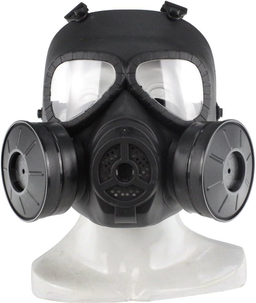 SGOYH Táctico Máscara Facial táctica del Gas de la Niebla de la Lente Transparente simulada táctica con el Engranaje de protección Doble de Airsoft Paintbal de la Fan de Turbo