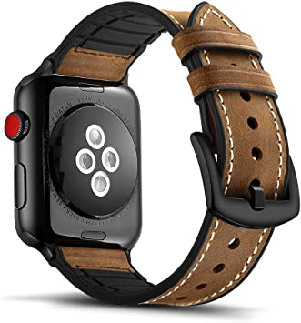 Tasikar para Correa Apple Watch 42mm 44mm Diseño de Cuero y Silicona Compatible con Apple Watch Series 6 Series 4 (44mm) Series 3 Series 2 Series 1 (42mm): Amazon.es: Electrónica