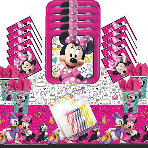 Minnie Mouse Happy Helpers Party Supplies Pack Serves 16: Dinner Plates Luncheon Napkins Cups and Table Cover with Birthday -