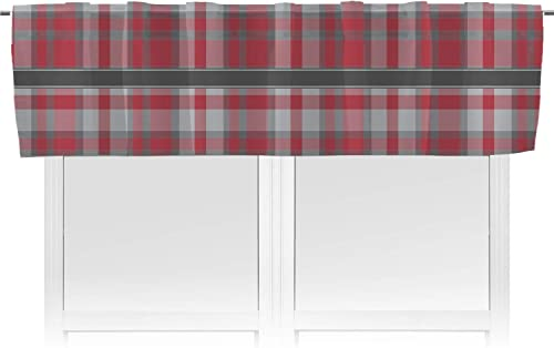 RNK Shops Red Gray Plaid Valance Personalized
