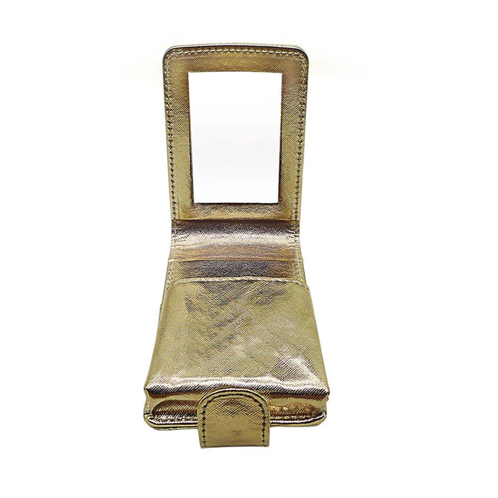 Lippenstift Etui PU Leder Snap Closure kosmetische Make-up Halter hält 3 Lippenstifte Lippenstift Box mit Spiegel für Frauen Mädchen Gold Box-021-gold
