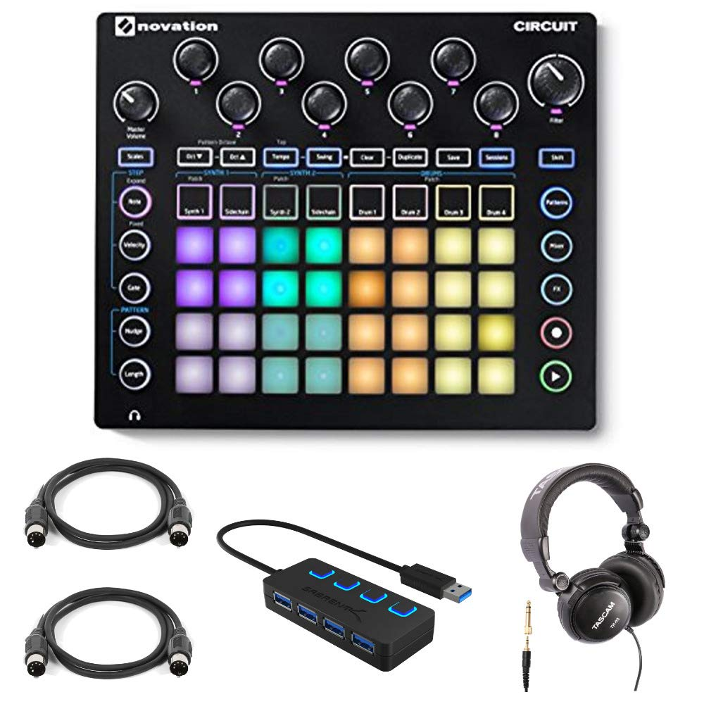 Novation Circuit Groove Box Drum Machine with Headphones 4-Port 3.0 USB HUB and 2 Midi Cables