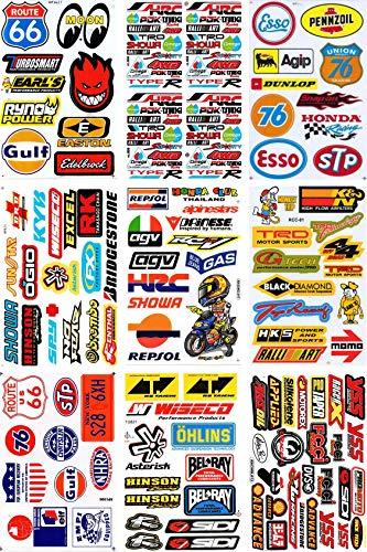 Set de 9 hojas patrocinadores Sponsor - Decal Sticker Tuning Racing Tamaño de la hoja: 27 x 18 cm para coche o moto