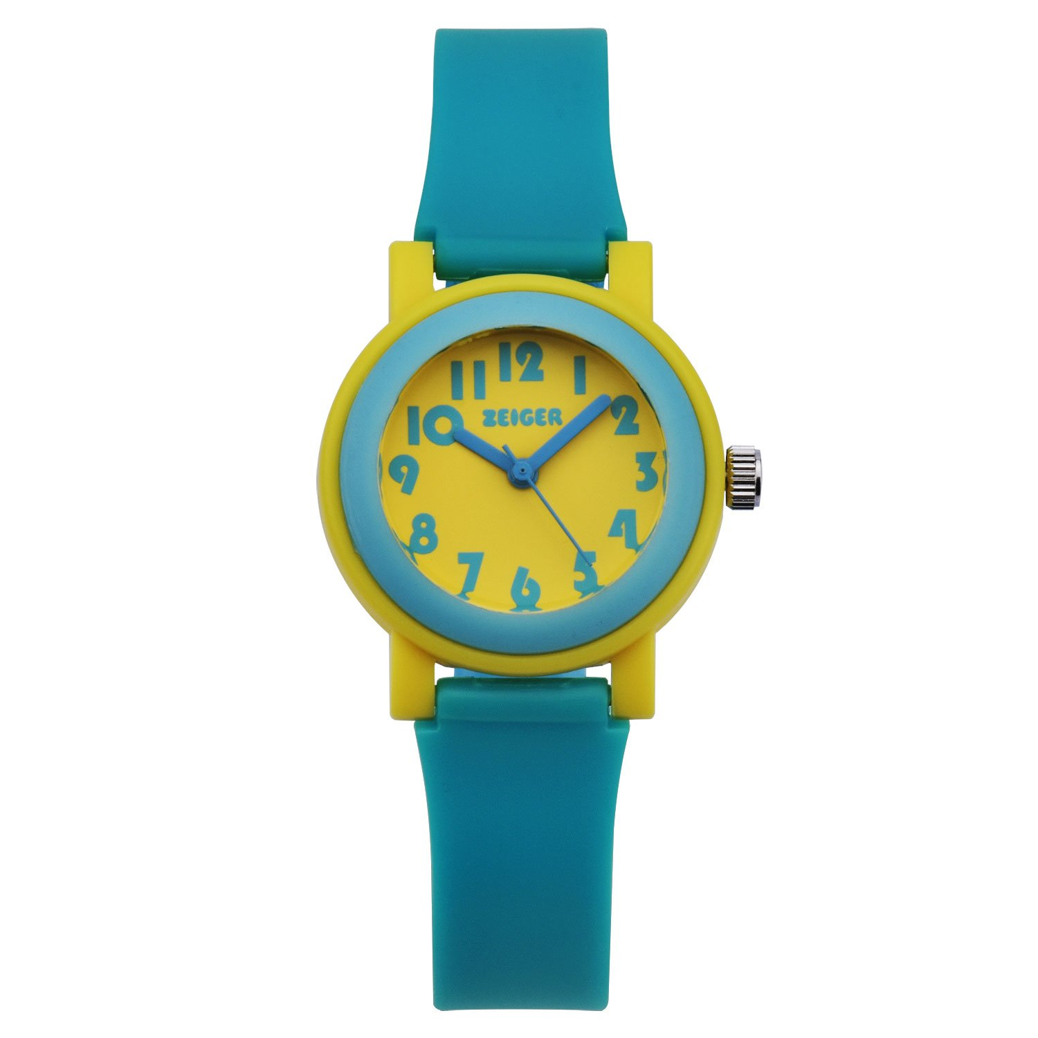 ZEIGER Kids Children Young Teen Girls Time Teacher New Little Watch with Silicon Band (Cyanine Blue) KW074 by Zeiger