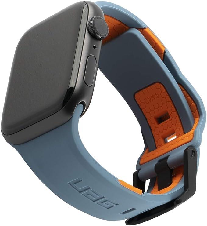 Urban Armor Gear Civilian Armband Für Apple Watch 42mm 44mm Watch Se Series 6 Series 5 Series 4 Series 3 Series 2 Series 1 Weiches Silikon Edelstahl Verschluss Blau Orange Elektronik