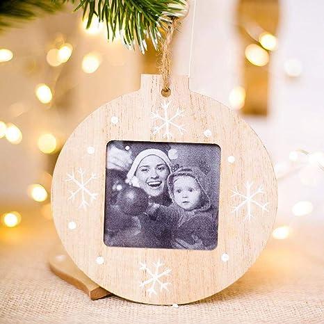 4 piezas/Paquete Innovadoras Decoraciones de Navidad DIY Marco de Fotos de Madera Árbol de Navidad Colgante Adornos de Navidad Adornos Decoración Del ...