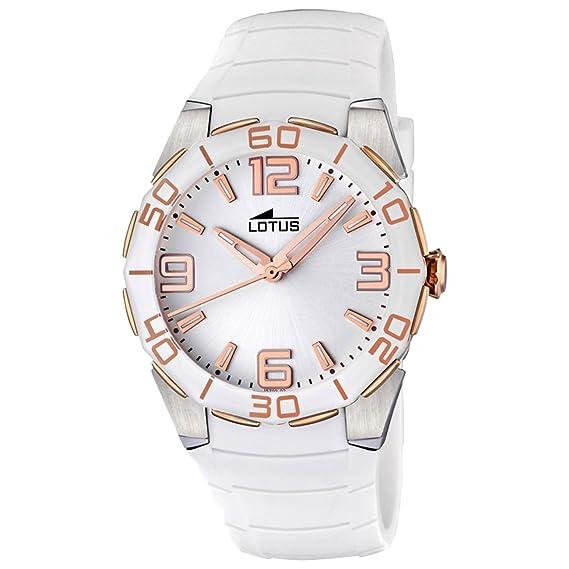 Lotus 15702/2 - Reloj analógico de mujer de cuarzo con correa de plástico blanca