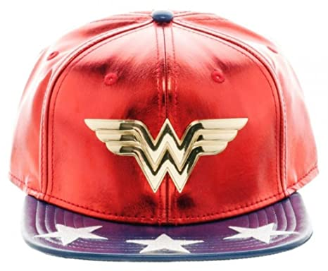 fa6c9840210 Image Unavailable. Image not available for. Color  Wonder Woman Suit-Up Metal  Logo Faux Leather Snapback Baseball Hat