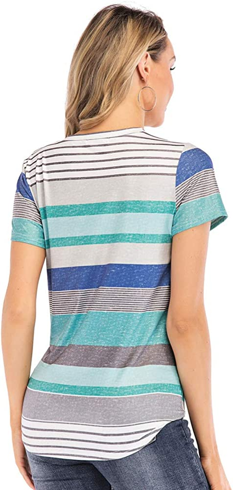 DesirePath Women Shirts Tie Knot Round Neck Striped Floral Printed Baggy Short Sleeve Tops