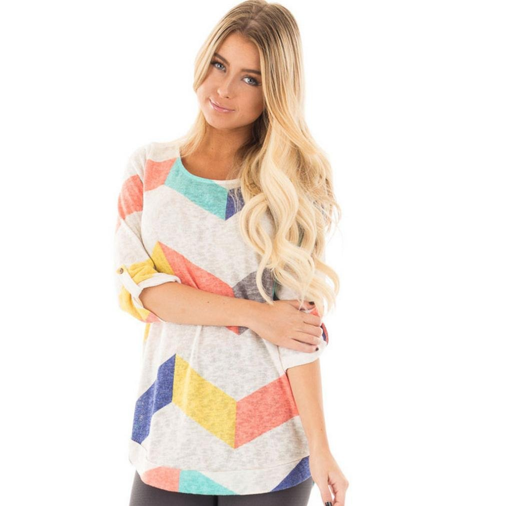 Autumn Colorful Woman O Neck Roll Sleeve Casual Tops Blouse (M)