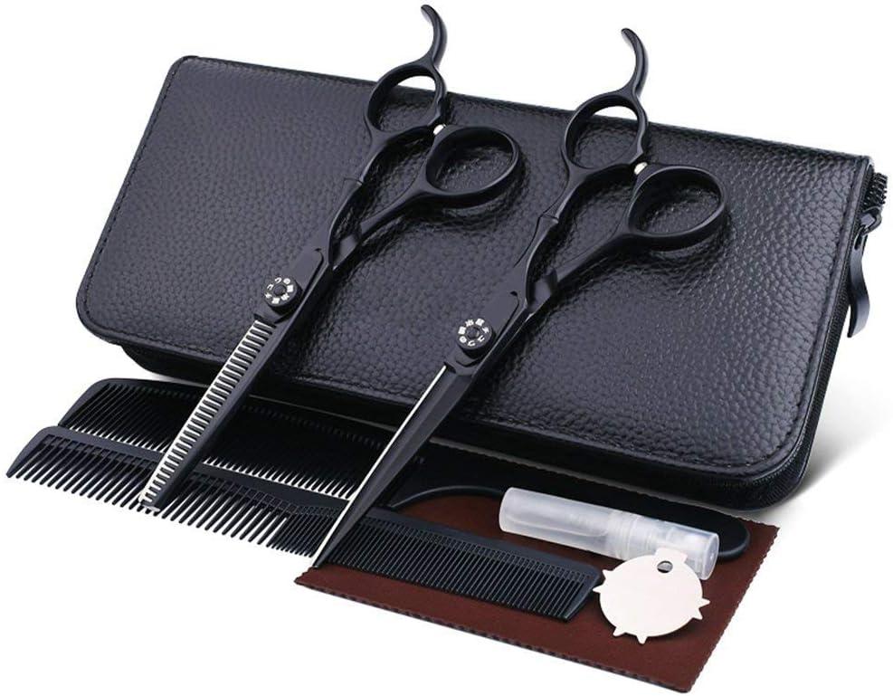 HJTLK Juego de Tijeras de peluquería de 6 Pulgadas Tornillos de tensión Juego de Tijeras de Corte de Cabello Profesional Incluye Bolsos y peines de Cuero Negro