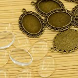 PEPPERLONELY Brand 10 Sets Antiqued Bronze Cabochon Frame Setting Tray Pendant with Clear Oval Glass Dome Tile Cabochon 18x25mm