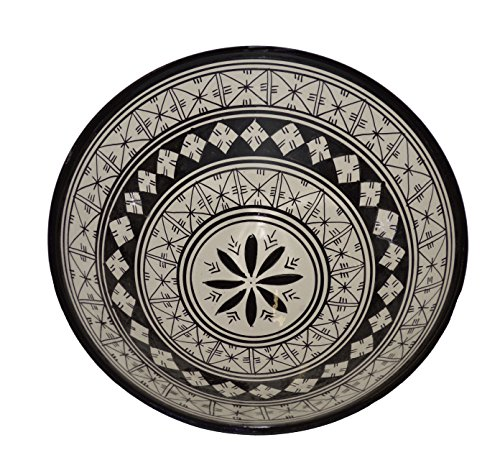 (Ceramic Bowls Moroccan Handmade Serving Bowl Black and White (Large 12 inches))