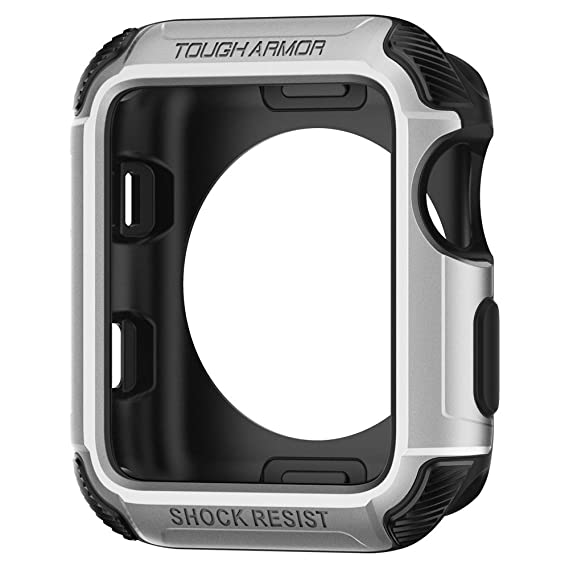 reputable site 56557 69b90 Spigen Tough Armor [2nd Generation] Designed for Apple Watch Case for 42mm  Series 3 / Series 2 / Nike+ Sport Edition - Silver