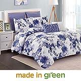Wonder Home 2018 Spring Trending Watercolor Floral Cotton Comforter Set, 7 Piece Luxury Oversized Bedding Set with Euro Shams, Dec Pillows, Queen, 92''x96'', Blue