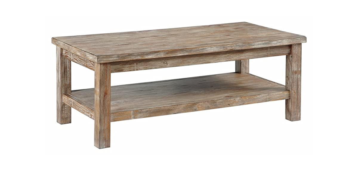 Ashley Furniture Signature Design - Vennilux Coffee Table - Cocktail Height - Rectangular - Bisque