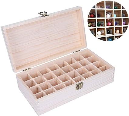 Caja de almacenamiento de aceites esenciales de madera - Organizador de aceites esenciales - Caja de recolección de madera de 32 canales, Caja de organización grande: Amazon.es: Belleza
