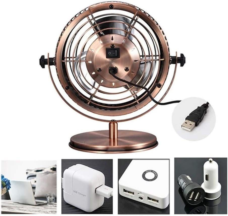 Air Cooler Portable Desk USB Fan , Air Cooling Fan Vintage USB Mini Fans Ultra Quiet , Two Speed Adjustment for Home