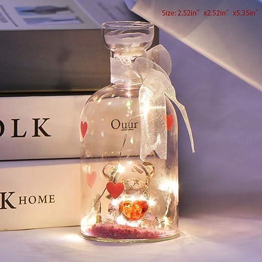 Botella de vidrio creativa Pareja Oso Luz nocturna Luces de ...