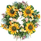 Emlyn Rose Decorative Sunflower 18'' Summer Wreath for Front Door or Indoor Wall Décor to Celebrate Spring Summer & Fall Season