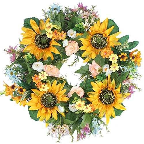 Emlyn Rose Decorative Sunflower 18'' Summer Wreath for Front Door or Indoor Wall Décor to Celebrate Spring Summer & Fall Season by Emlyn