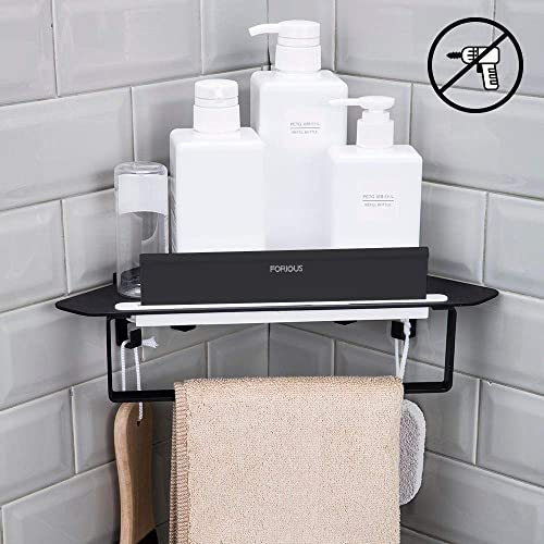 Forious Bathroom Shower Caddy and Kitchen Shelf Combine with Squeegee, Towel Ring and Robe Hooks, Patented Glue 3M Self-Adhesive, Aluminum, Black