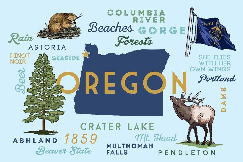 Seaside, Oregonオレゴン州 – The Life – Typographyとアイコン 16 x 24 Giclee Print LANT-85925-16x24 B07B29SCGP  16 x 24 Giclee Print