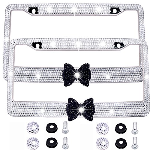Bling Bling License Plate Frames -2 PACK-8 Row Pure Handmade Waterproof Glitter Rhinestones Crystal License Frames plate for Cars with 2 Holes with Screws Caps Set (White & Black Bowtie) (License Bow Plate)