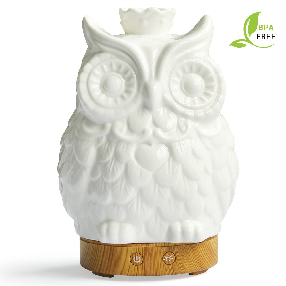 Essential Oil Diffuser 120ml Cool Mist Humidifier -14 Color LED Nihgt lamps - Crafts Ornaments All in One Upgrade Whisper-Quiet Operation Ultrasonic Ceramics Owl Humidifiers(wood grain base)
