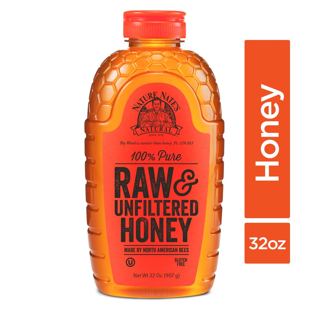 Nature Nate's 100% Pure Raw & Unfiltered Honey; 32-oz. Squeeze Bottle - 6 Pack; Certified Gluten Free and OU Kosher Certified; Enjoy Honey's Balanced Flavors and Sweet Natural Goodness