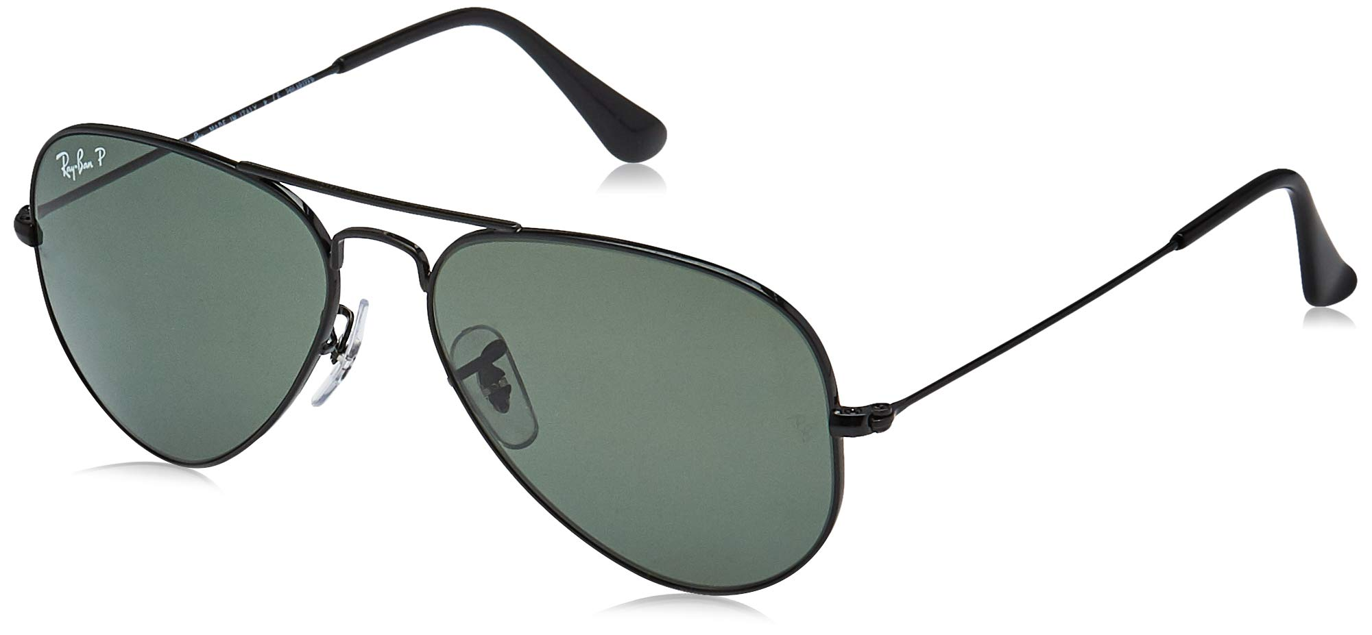 RAY-BAN RB3025 Aviator Large Metal Polarized Sunglasses, Black/Polarized Green, 55 mm by RAY-BAN