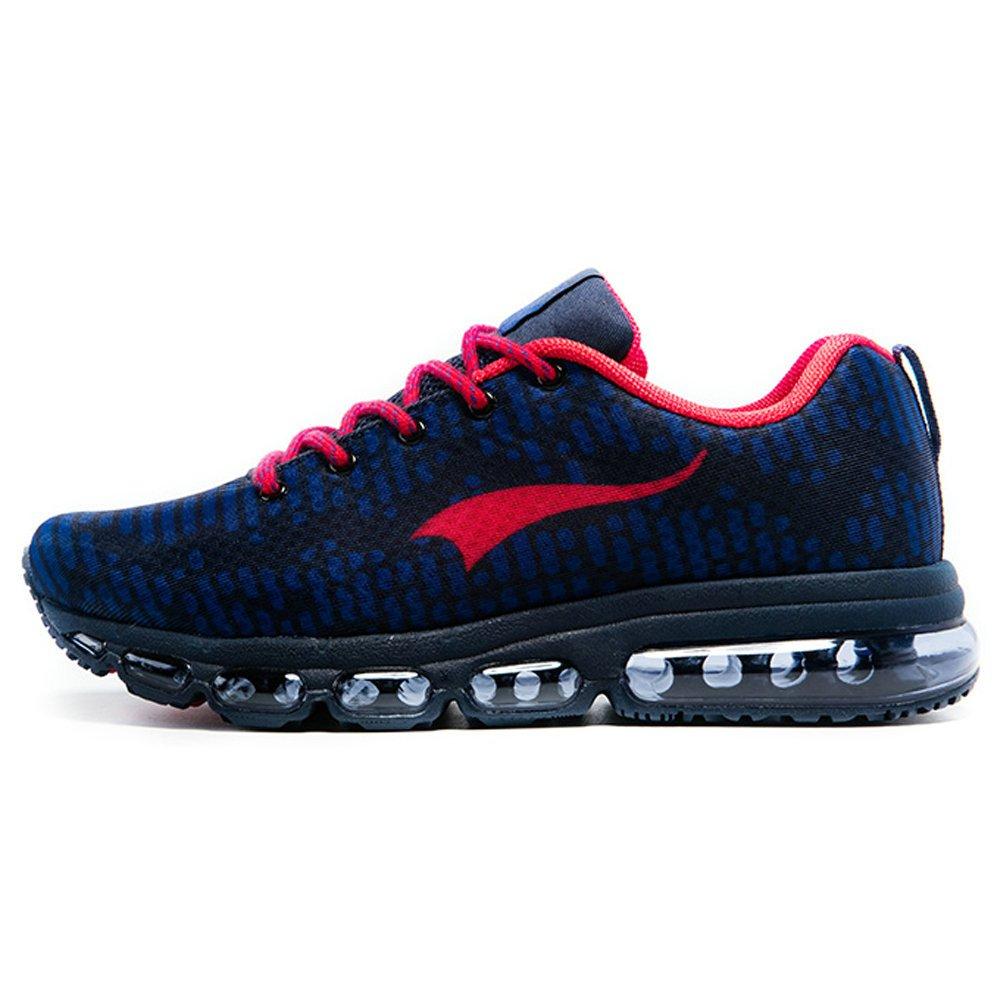 Onemix Air Hombre Mujer Zapatos para Correr Respirable Deportes Zapatillas de Running Rhythm Unisex Adulto 43 EU|Azul Oscuro / Rojo