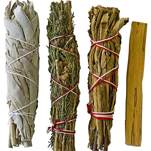 Smudge Stick Kit- Bonus Palo Santo ,White Sage, Desert Sage and Yerba Santa for blessing your home and loved ones, also clears negative energies. Contains Special herbs for creating barriers.