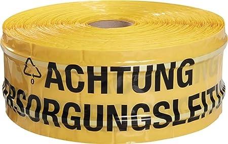 gelb Breite 40mm L/änge 250m Warnband Aufdruck Achtung Fernw/ärmeleitung